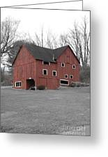 Red Barn In Black And White Greeting Card by Randy Edwards
