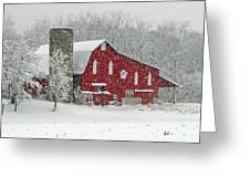 Red Barn In Heavy Snow Greeting Card