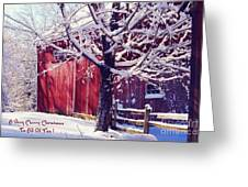 Red Barn In The Winter Connecticut Usa Greeting Card