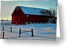 Red Barn In Winter ... Greeting Card