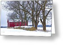 Red Barn In Winter With Hay Bales Greeting Card