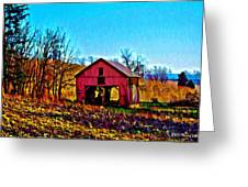 Red Barn On A Hillside Greeting Card