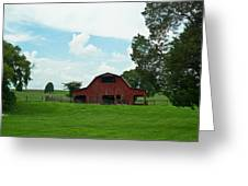 Red Barn On The Horizon Greeting Card