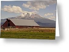 Red Barn Under Mount Shasta Greeting Card