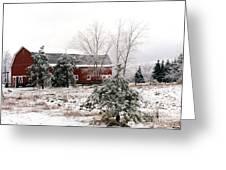 Michigan Red Barn Winter Scene Snow Landscape Greeting Card