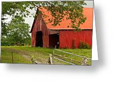 Red Barn With Orange Roof 1 Greeting Card