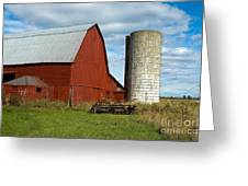 Red Barn With Silo Greeting Card