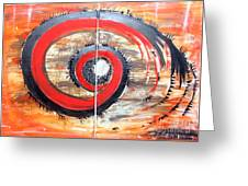 Red-black Swirl Greeting Card