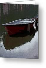 Red Boat In A Canal In The Netherlands Greeting Card
