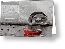 Red Boat In The Harbor At Vernazza Greeting Card