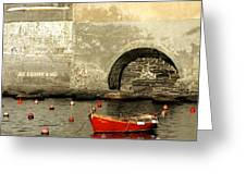 Red Boat In Vernazza Harbor On The Cinque Terre Greeting Card