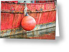 Red Boat With Bumper Greeting Card