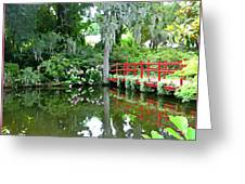 Red Bridge Over The Magnolia Swamp Land Greeting Card