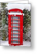 Red British Phonebox In The Snow Greeting Card