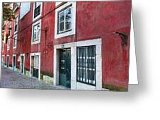 Red Building  Lisboa Portugal Greeting Card