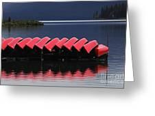 Red Canoes Maligne Lake Greeting Card