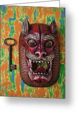 Red Cat Mask Greeting Card