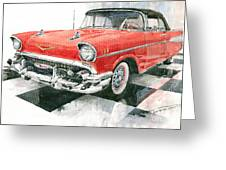 Red Chevrolet 1957 Greeting Card
