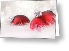 Red Christmas Balls In White Feathers  Greeting Card