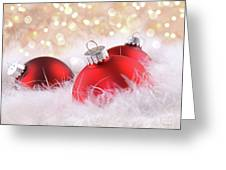 Red Christmas Balls With Abstract Background Greeting Card