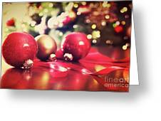 Red Christmas Ornaments With Vintage Look  Greeting Card