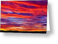 Red Clouds Dawn With Mount Rainier Greeting Card
