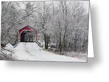 Red Covered Bridge In The Winter Greeting Card
