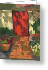 Red Door - Shadow And Light Greeting Card