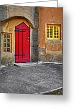 Red Door And Yellow Windows Greeting Card