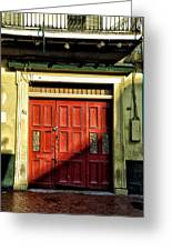 Red Door In Half Shadow Greeting Card