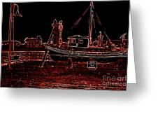 Red Electric Neon Boat On Sc Wharf Greeting Card