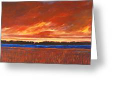 Red Field And Red Sky  Greeting Card