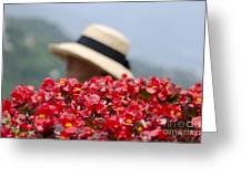 Red Flowers And Straw Hat Greeting Card
