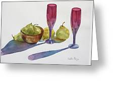 Red Flutes And Pears Greeting Card by Bobbi Price