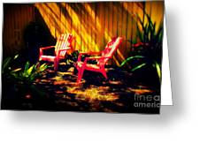 Red Garden Chairs Greeting Card