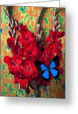 Red Gladiolus And Blue Butterfly Greeting Card
