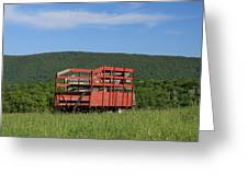 Red Hay Wagon In Green Mountain Field Greeting Card