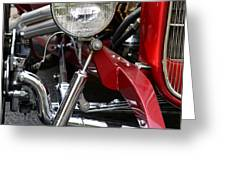 Red Hot Rod- Light And Chrome Greeting Card