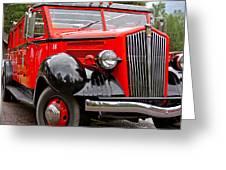 Red Jammer Tour Bus Glacier National Park Greeting Card