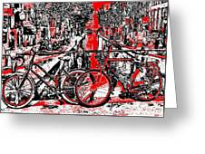 Red Lights Canal In Amsterdam Greeting Card