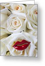 Red Lips And White Roses Greeting Card