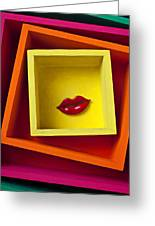 Red Lips In Yellow Box Greeting Card