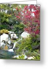 Red Maple Above The Falls Greeting Card