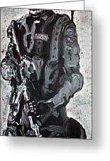 Red Marble Full Length Figure Portrait Of Swat Team Leader Alpha Chicago Police Full Uniform War Gun Greeting Card by M Zimmerman MendyZ