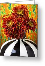 Red Mums In Striped Vase Greeting Card by Garry Gay