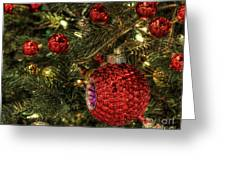 Red On A Green Christmas Tree Greeting Card