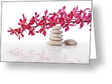 Red Orchid With Balance Stone Greeting Card