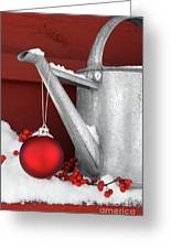 Red Ornament On Watering Can Greeting Card