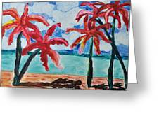 Red Palms Greeting Card