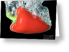 Red Pepper Falling Into Water Greeting Card
